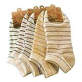 Fletion Damen Mädchen Streifen Baumwollsocken Sneaker Socken Füßlinge Shallow Mund Socken Unsichtbare Socken,5 Paare Farbe Zufällige
