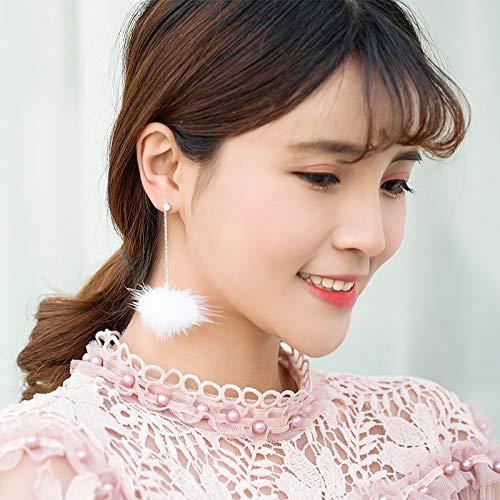 (HLII Der Frauen Ohrringe 925 Silber Aluminium Bankett Premium Elegant Quaste Haar Ball Schmuck Ohrringe)