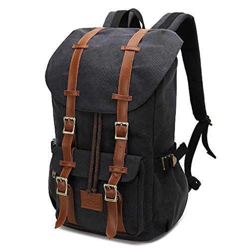 Fresion Canvas Rucksack mit 2 Seitentaschen Laptop Tasche Reise Rucksack Schultasche Trekkingrucksäcke für Wandern Camping (Canvas Schwarz) (Seitentasche Rucksack)