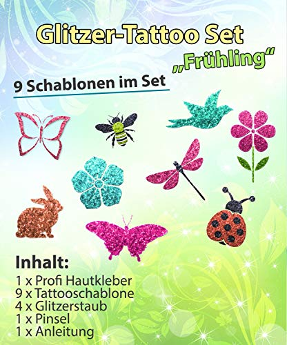 Glitzer Tattoo SET Kinder Frühling mit Hautkleber, 1 Pinsel, 4 Glitzer, 9 Schablonen Ostern -
