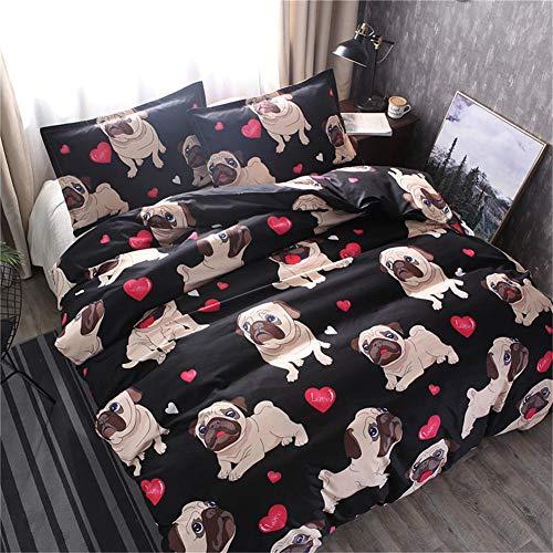 Dream-cool Bettwäsche-Set, 3D, niedliches Hunde-Motiv, für Einzel-/Voll-/Queen-/King-Size-Bettdeckenbezüge, Baumwolle, Bettbezug für Heimtextilien, 2/3 Sets Single(150x200cm) 2pcs - Voll Queen Bettwäsche Set