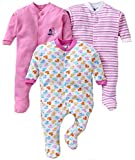 MY BABY TOWN Baby Multi-Color Long Sleeve Cotton Sleep Suit Romper for Boys and Girls Set of 3 (0-3 Months, Multi)