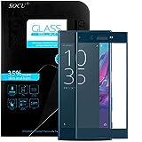 SOCU Protection écran Sony Xperia XZ, Film de protection d'écran en Verre Trempé [3D Couverture complète] pour Sony Xperia XZ - Bleu
