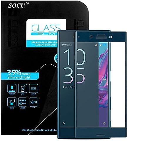 Protection écran Sony Xperia XZ, SOCU Film de protection d'écran en Verre Trempé [3D Couverture complète] pour Sony Xperia XZ - Bleu