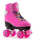 Rio Roller Figure Lights LED Herz Kinder / Erwachsenen Quad Rollschuhe Pink (Uk 5 Euro 38)