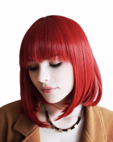 5cm mittel BOB Gerade Pony IFA Model Rot Perücke Wig (Kurze Rote Perücke Halloween)