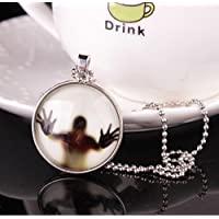ZoraQ Halloween Glühendes Glas Anhänger Halskette Geschenk