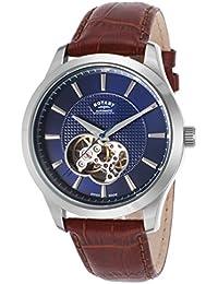 Rotary GS02990-05 GS02990/05 - Reloj para hombres, correa de cuero color marrón