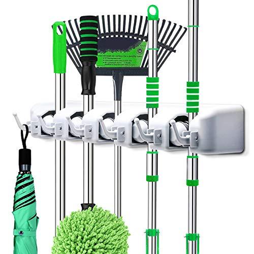 PUAIDA Besenhalter, Wand Gerätehalter mit 5 Schnellspannern und 6 Haken, perfekt Mop Besen Ordnungsleiste für Gartenwerkzeug Küche Badezimmer Garage(Grau) -