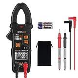 Tacklife CM03 Professional Pinza Multímetro para medida amperímetro ohmímetro con corriente y voltaje CA/CC,6000 cuentas, ciclo de trabajo, prueba de diodo, auto o manual alcance