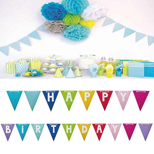 LS JaBaDaBaDo XXL Wimpelkette Happy Birthday Wimpel Girlande Geburtstag Party 4,7 M (Im Flagge Freien Happy Birthday)