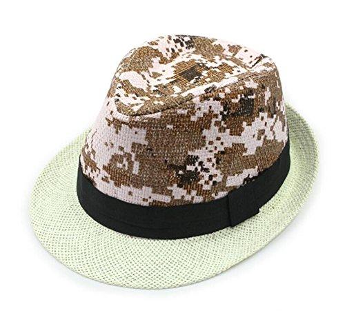 Unisexe camouflage d'été plage soleil casquette visière Chapeau de paille souple à rayures Style 2