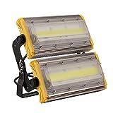 Kaigeli888 LED Projecteur, 100W Spot LED Lumière Extérieur Intérieur [IP65 Imperméable] Haute Puissance [8000LM IP65 Etanche] en Arc Eclairage Plus Loin Vaste - Blanc Chaud