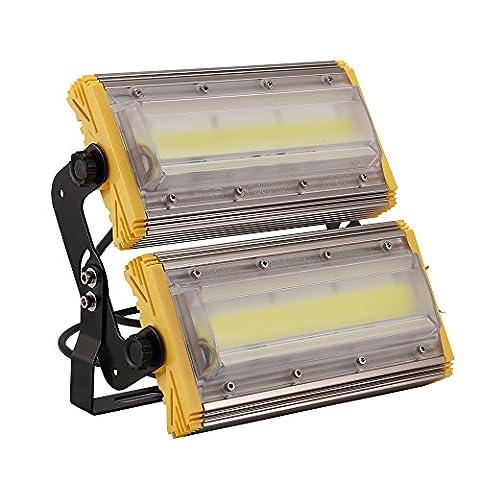 Kaigeli888 LED Projecteur, 100W Spot LED Lumière Extérieur Intérieur [IP65 Imperméable] Haute Puissance [8000LM IP65 Etanche] en Arc Eclairage Plus Loin Vaste - Blanc