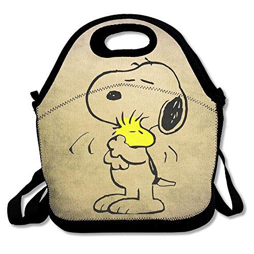 Cacahuetes Snoopy dormir bolsa para el almuerzo cajas de almuerzo, impermeable al aire libre Viajes Picnic Lunch Box bolsa bolso con cremallera y ajustable correa de Crossbody