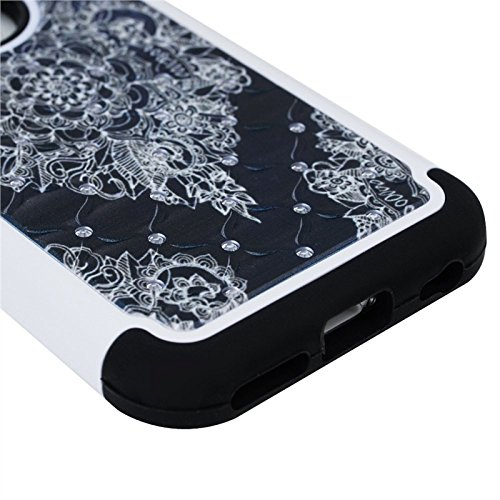 Für iPhone 6 / iPhone 6S, Yokata Bling Diamant 3 in 1 Case Sehr Dünn mit Soft Cover Blumen Motiv Hülle Weich TPU Silikon Bumper Backcover Shell Schutzhülle Handyhülle + 1 x Kapazitive Feder Schwarz