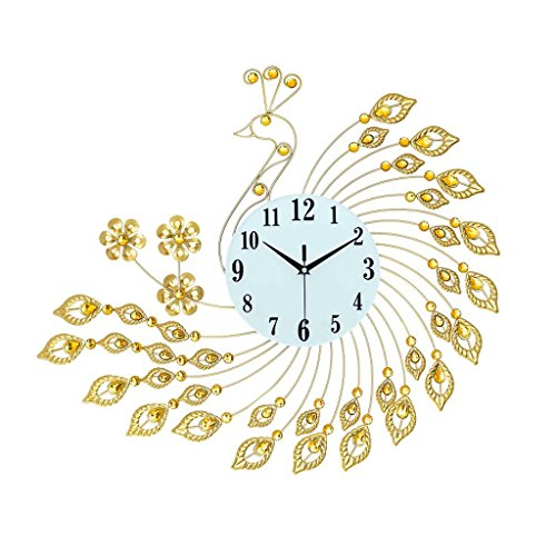 80 * 63 cm Peacock Horloge Salon Creative Moderne Minimaliste Horloge Personnalité Art Lumineux Quartz Horloge Mute Horloge Murale (Couleur : A)