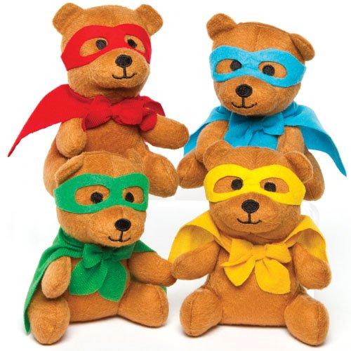 Orsetti eroe di peluche perfetti da regalare alle feste dei bambini o come pupazzi da portare sempre con sé (confezione da 4)