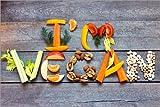 Posterlounge Leinwandbild 150 x 100 cm: Ich Bin Veganer von Editors Choice - fertiges Wandbild, Bild auf Keilrahmen, Fertigbild auf echter Leinwand, Leinwanddruck