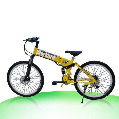 "ebike 26\"" Zoll Mountainbike Faltrad Klapprad Elektro Batterie Pedelec 21 gang (Gelb)"