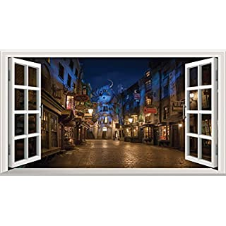 Harry Potter V0101 Sticker mural 3D, Illustration Fenêtre ouverte sur le Chemin de Traverse, 100 x 60 cm