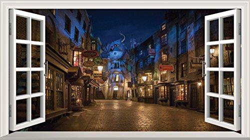 Harry Potter Diagon Alley 3d Magic Window v0101da parete adesivo poster da parete, 1000mm larghezza x 600mm profonda (grande)