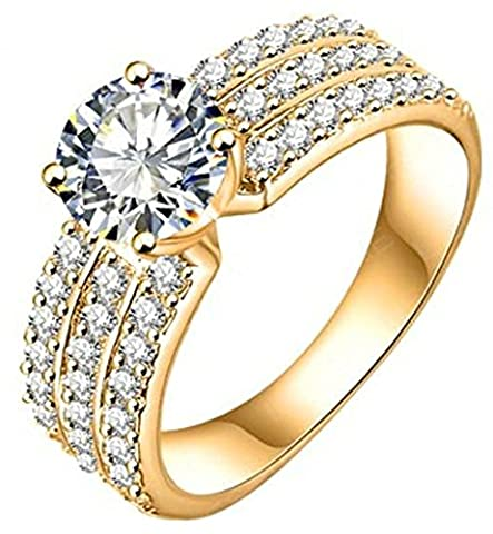 AMDXD Jewelry Gold Plated Women's Rose Gold Engagement Rings Big Round CZ with 3 Rows Crystal Size N 1/2