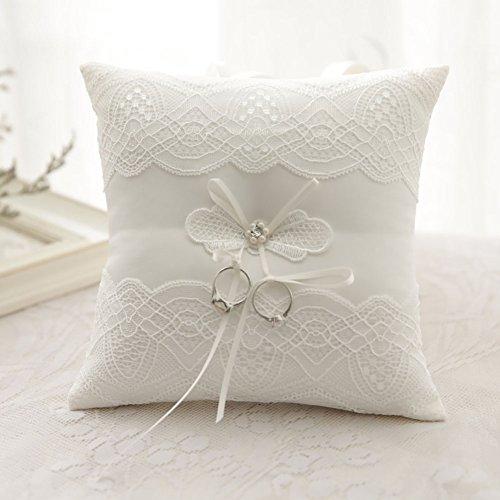 silktalk Ringkissen Romantik Hochzeit handgefertigt Satinband Beige Fliege Ring Kissen Träger 21 cm * 21 cm C