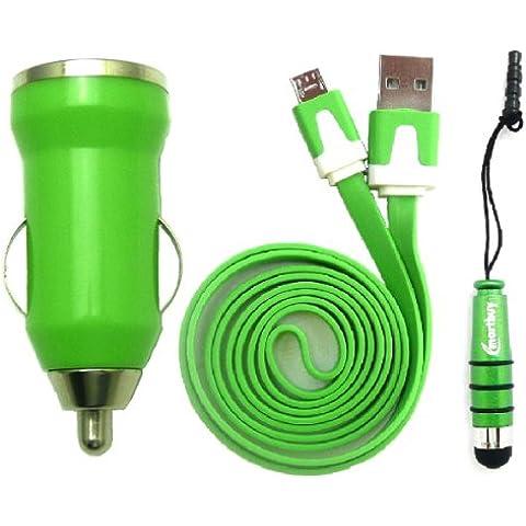 Emartbuy® Trio Pacchetto Per Posh Mobile Icon Pro HD X551 - Verde Pallottola 1 Amp USB Auto Caricabatteria + Verde Mini Stilo + Verde Piattina Micro USB Dati & Ricarica