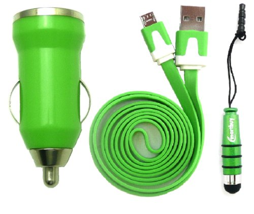 Emartbuy Trio Packfür Swistel Champ S5003D / eSmart H1 / eSmart E2 - Grün 1 Ampere USB Autoladegerät + Grün Mini Eingabestift + Grün Flaches Micro USB Data & Ladekabel Kabel (Champs-grün)