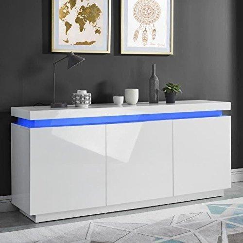 ODYSSEE Buffet LED contemporain laque blanc brillant - L 170 cm