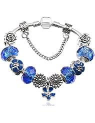 1c700f177759 QWERST Bracelet Estilo Europeo Charm Bracelet Cristal Plateado para Mujer  Cordones Fino Brazalete Azul