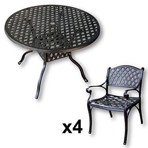 Lazy Susan Lisa 106 Cm Runder Gartentisch Mit 4 Stuhlen