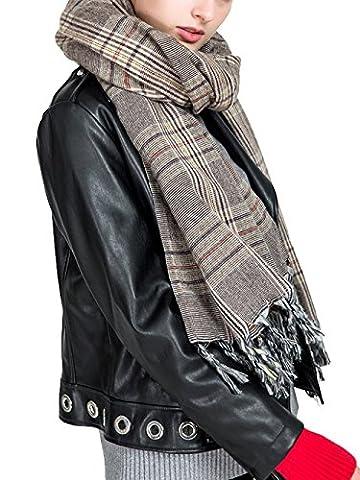 Aitos Schals Damen Winterschal Kariert übergroßer XXL Karoschal Deckenschal Tartan Gitter Wrap Riesen 200cm Lang Damenschal Winter Grau