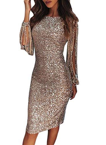 532a62872352 Aleumdr Vestito Donna con Paillette Maniche a Nappe Vestito da Cocktail  Donna Vintage per Party Abito