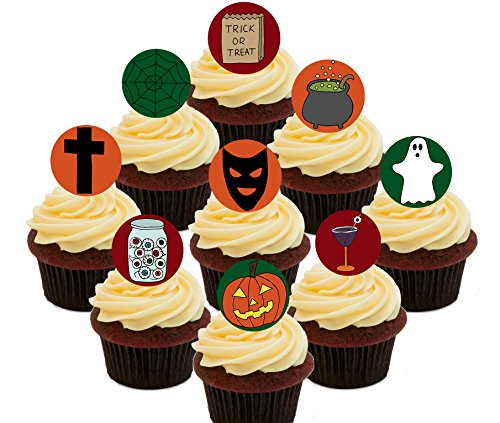 – Essbare Cupcake Topper – Stand-Up Wafer Kuchen Dekorationen (30 Stück) (Friedhof Halloween Dekoration Ideen)