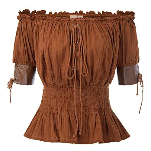 Kostüm Piraten Frauen - Belle Poque Mädchen Halbe Ärmel Retro Vintage Schulterfrei Tops Braun Größe M
