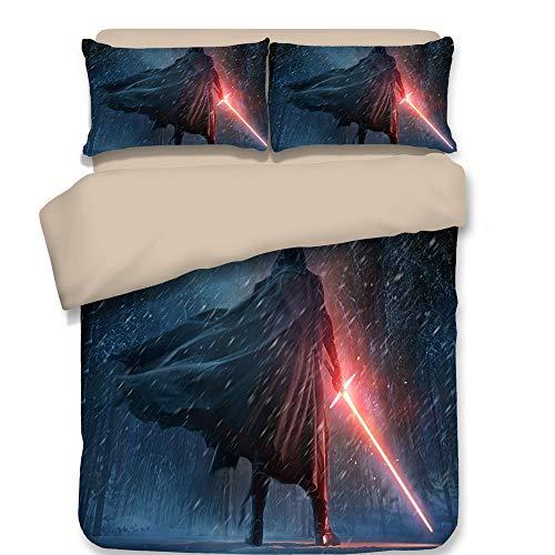 Smile 3-teiliges Set Bettwäsche mit Bettbezug, Star Wars-Kinderkarikatur Einzelbett King-Size-Bett, lichtechtes Polyester Bequeme Bettwäsche,01,Queen (Queen-size-star Wars Bettwäsche)