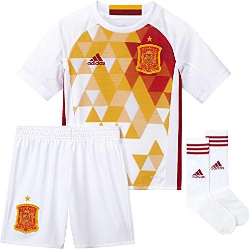 Adidas Fef A Smu Mini Completo Maglia e Short Nazionale Calcio della Spagna Second Replica 2016-2017 per Bambini, Bianco/Rosso/Giallo (Bianco/Rojfu), 152