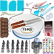 73 pcs Cake Decorating Supplies Kit for Beginners-1 Turntable stand-24 Numbered icing tips with pattern chart
