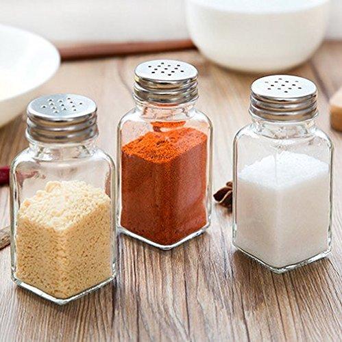 efbock Glass Salz und Pfefferstreuer mit Edelstahl Tops 2St