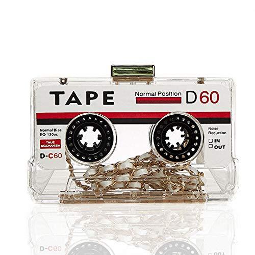 DUmulan Femmes Pochette Personnalisée Rétro Cassette Cassette Sac À Main De Mode Soirée Cassette Cassette Dîner
