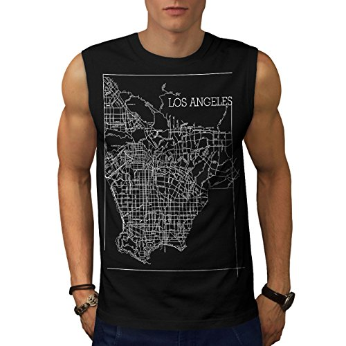 Wellcoda Los Angeles Map Fashion Mens Sleevless T-Shirt, Town Athletic Top