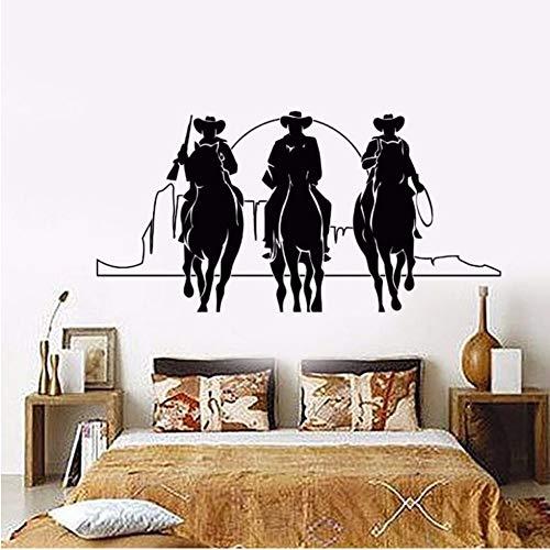 (Mhdxmp Wohnkultur Vinyl Wandtattoo Western Cowboys Wandaufkleber Abnehmbare Pferde Sonnenuntergang Film Kino Aufkleber Wohnkultur Wandbild 57 * 28 Cm)