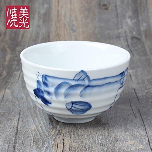 YUWANW Keramikgeschirr Porzellanschüssel Reisschüssel Schüssel Koreanische Küche Suppenschüssel 4,5 Zoll Wischen, Blowfish Tauchen (Te-puffer)