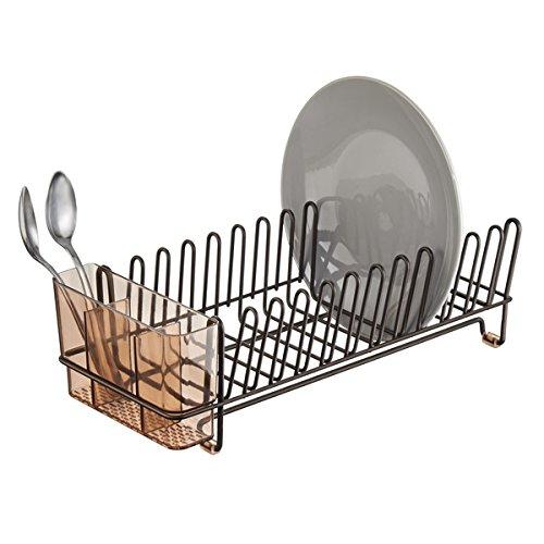 mDesign – Escurridor de platos – Práctico escurreplatos con cubertero – Elegante escurrecubiertos para vajilla con bandeja – Hasta 12 platos + cubiertos – Color: bronce