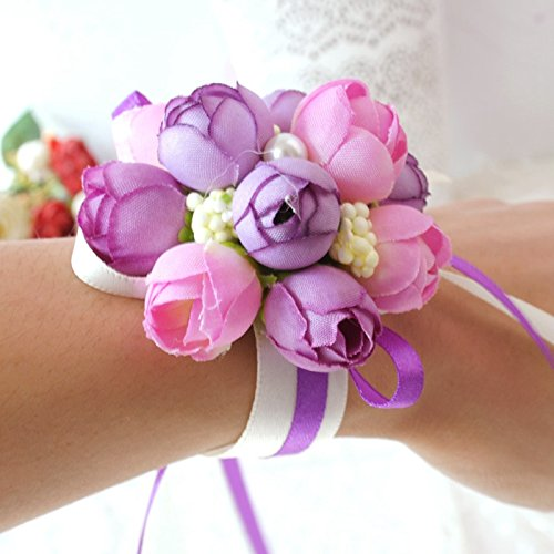 Ocamo Bridesmaid Bride Wedding Supplies Wrist Corsage Party Prom Ribbon Hand Flower Decor Purple