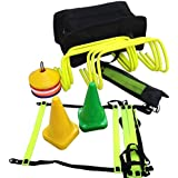 CW Football Pro Sports Soccer Speed Agility Training Kit Set Including (6 Hurdles+Agility Ladder With Full Cover +Set Ground Marker Cones+ Set Of Disc Saucer Marker Cones + Black Kit Bag )