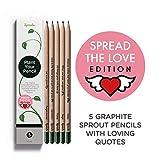 Sprout Pencils | Matite Sprout Love Edition | Scatola da 5 | Matite da disegno in grafite piantabili | In legno organico e naturale | Set da regalo con un cuore | Frasi tenere