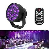 Aeo UV LED Schwarzlicht 18 LEDs 7 Modi Schwarzes Strahler UV Lampe DMX512 Steuerung IR Fernbedienung Bühnenbeleuchtung für Parteien Bar Verein Disco Hochzeit